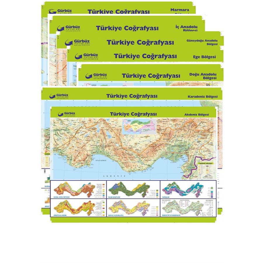 Turkiye Bolgeler Harita Seti 7 Adet