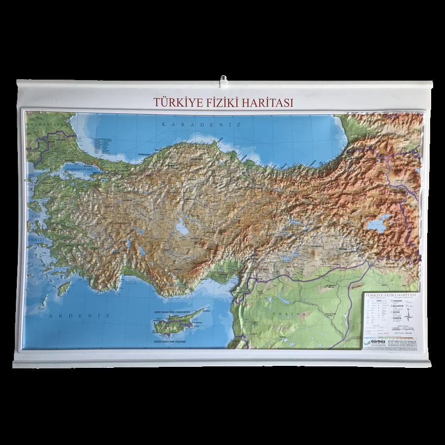 Kabartma Türkiye Fiziki Haritası 70x100cm