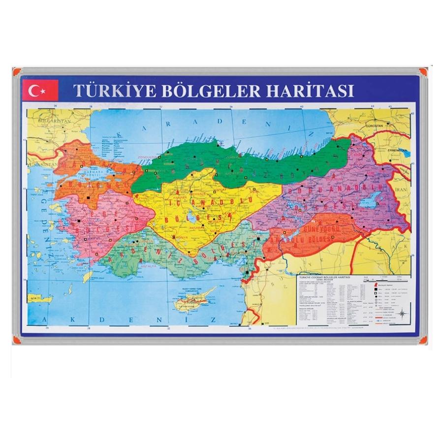 70x100cm Turkiye Bolgeler Haritasi Alm Cerc